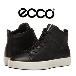 NWOT ECCO Soft 8-High Top Black Leather Sneakers